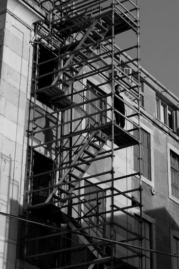 Light And Shadow Man Architecture Built Structure Emergency Exit Fire Escape Building Exterior Steps And Staircases Urgency Staircase Outdoors Day EyeEmNewHere