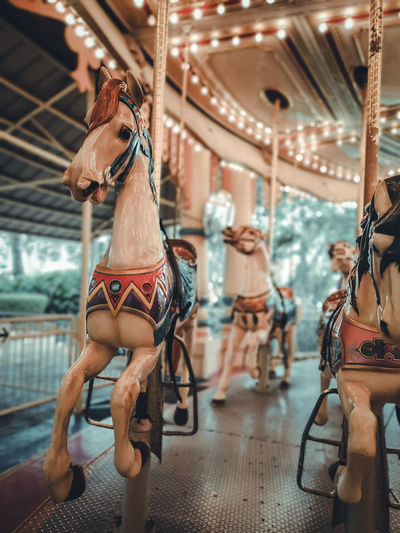 Midsection of carousel at amusement park