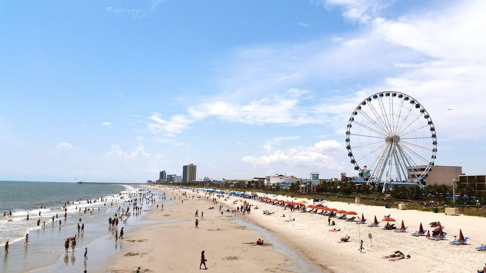 Large Group Of People Beach Sea Sand Nature Water Sky Myrtle Beach SC Day Crowd Outdoors Travel Destinations Faris Wheel MyPhotography