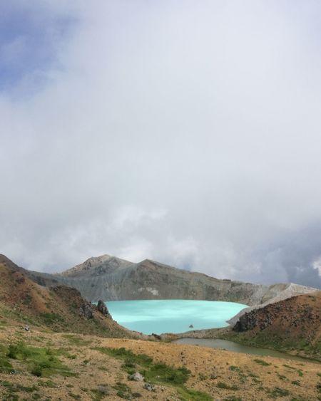 草津 湯釜 Nature No People Landscape Outdoors Day Cloud - Sky Beauty In Nature Mountain Summer Volcano Hot Spring Turquoise Water Turquoise Blue Yugama Kusatsu Japan