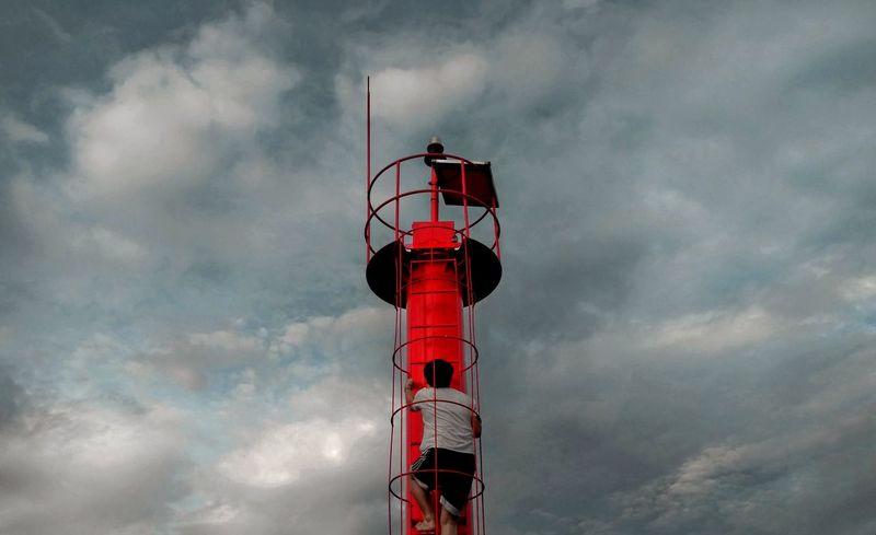 登塔 Safety Protection Security Lighthouse Direction Cloud - Sky Architecture Day Low Angle View Sky Adult Red Building Exterior Built Structure Outdoors People