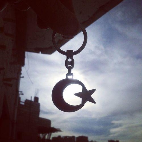 Ay Yildiz Ayyildiz Gunes moon star sun clouds sky keyholder