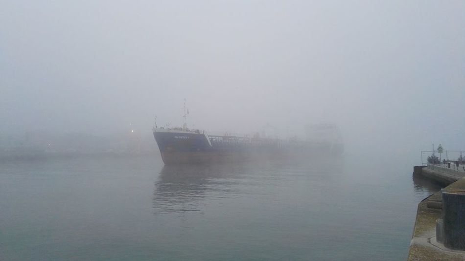 Fog ship channel Sea Ravenna, Italy Winter Vessel In Port Shiplife Ships On The Water