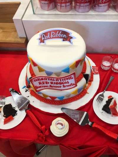 Grand opening Inauguration Day Red Ribbon Blessing Cake Breads Celebrate Your Ride Sweets Confection