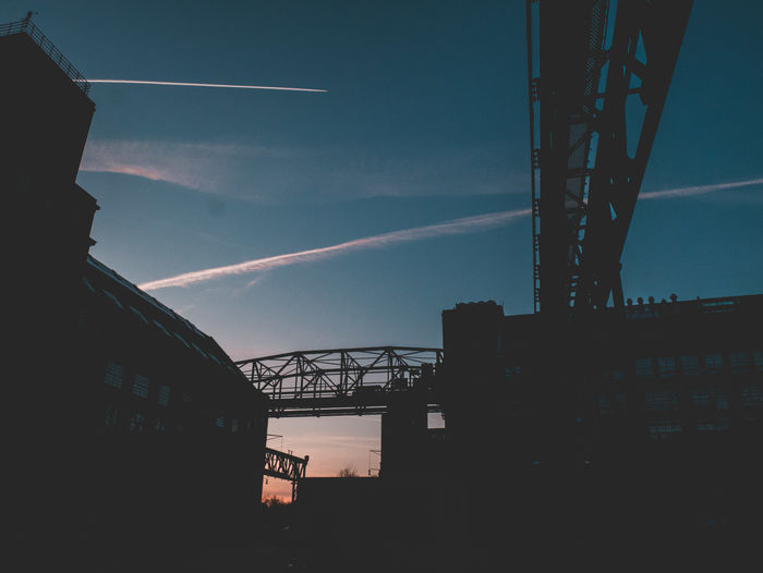 Berlin Architecture Bridge Bridge - Man Made Structure Building Exterior Built Structure Cloud - Sky Connection Day Industry Low Angle View Metal Nature No People Outdoors Silhouette Sky Transportation Vapor Trail Water