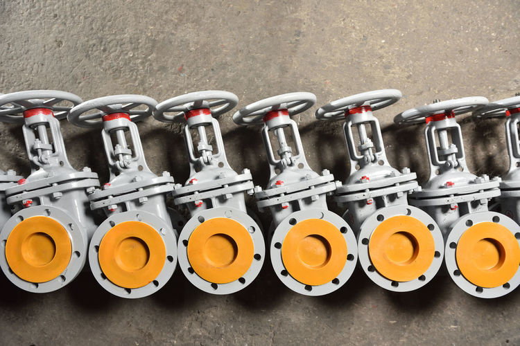 Group Many Process Stacked Ground Valves Gate Supply Orange Color New Cap Manufacturing Plant Gas Construction Control Energy Equipment Factory Industrial Industry Metal Pipeline Pressure Technology Valve Background Connection Engineer Flow  Iron Power Steel Water Actuator Color Control Valve Controlled Controller Engineering Background Gray Heating Manual Valve Membrane Part Plc Power Plant Regulator Steam System
