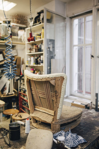 Incomplete chair in upholstery workshop