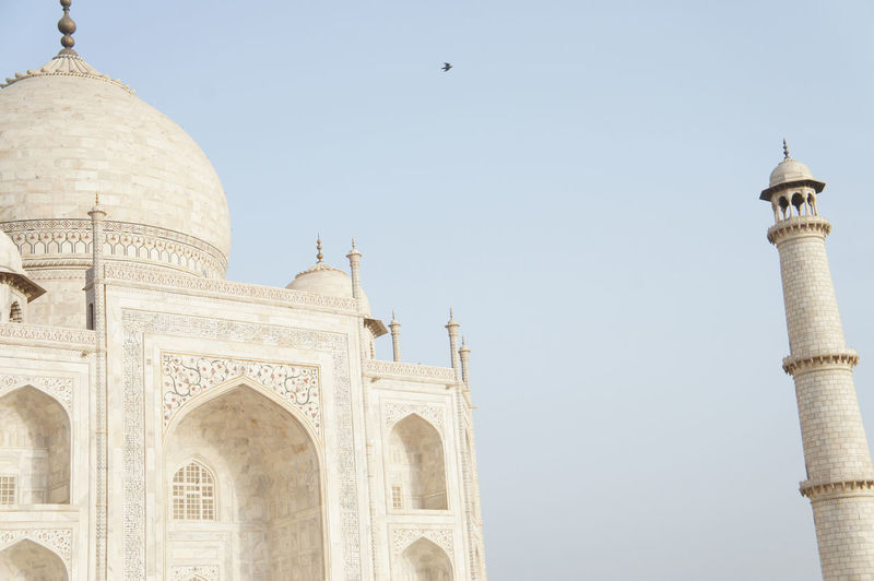 Low angle view of historic building against clear sky - taj mahal