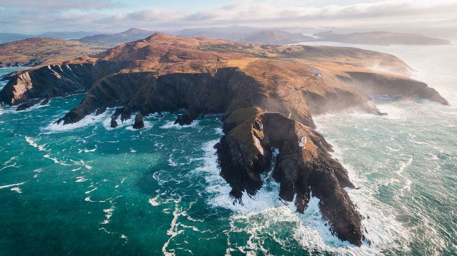 Flying over the dramatic coast of Ireland. Aerial View Animal Themes Beauty In Nature Coastline Day Domestic Animals Drone  Ireland Mountain Nature No People Outdoor Photography Outdoors Scenics Sea Sky Water Waterfront Wilderness