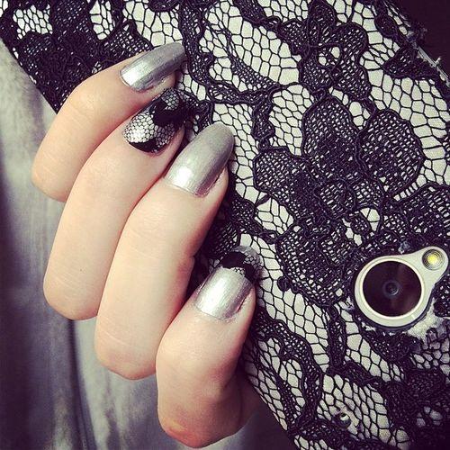 Lace nails ? Lacenails Lacenailart Greynails Nailart  lace
