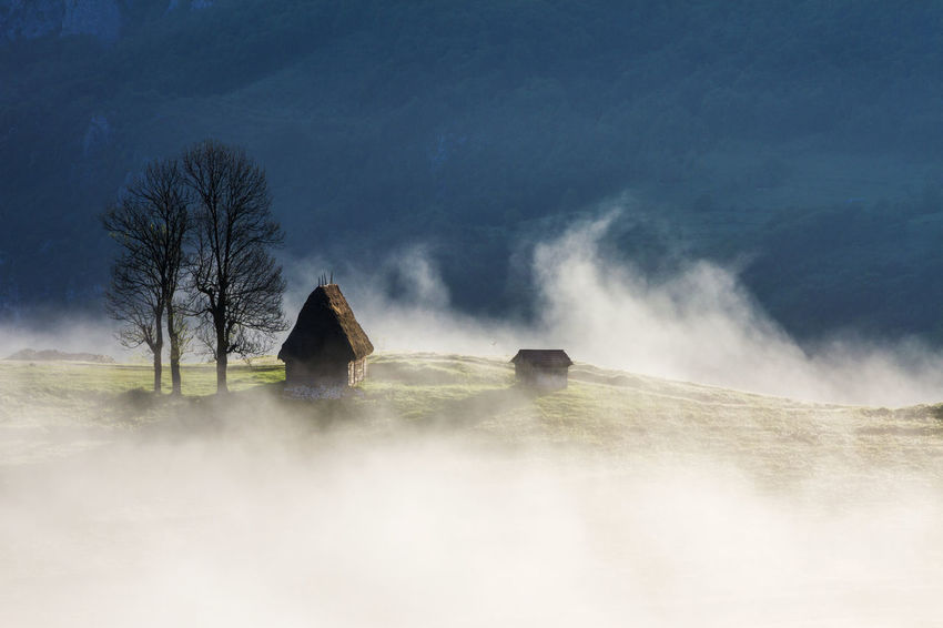 foggy morning in Apuseni Mountains Beauty In Nature Cold Temperature Day Fog Hot Spring House Landscape Long Exposure Mist Motion Nature No People Outdoors Scenics Sky Sunrise Tree Water