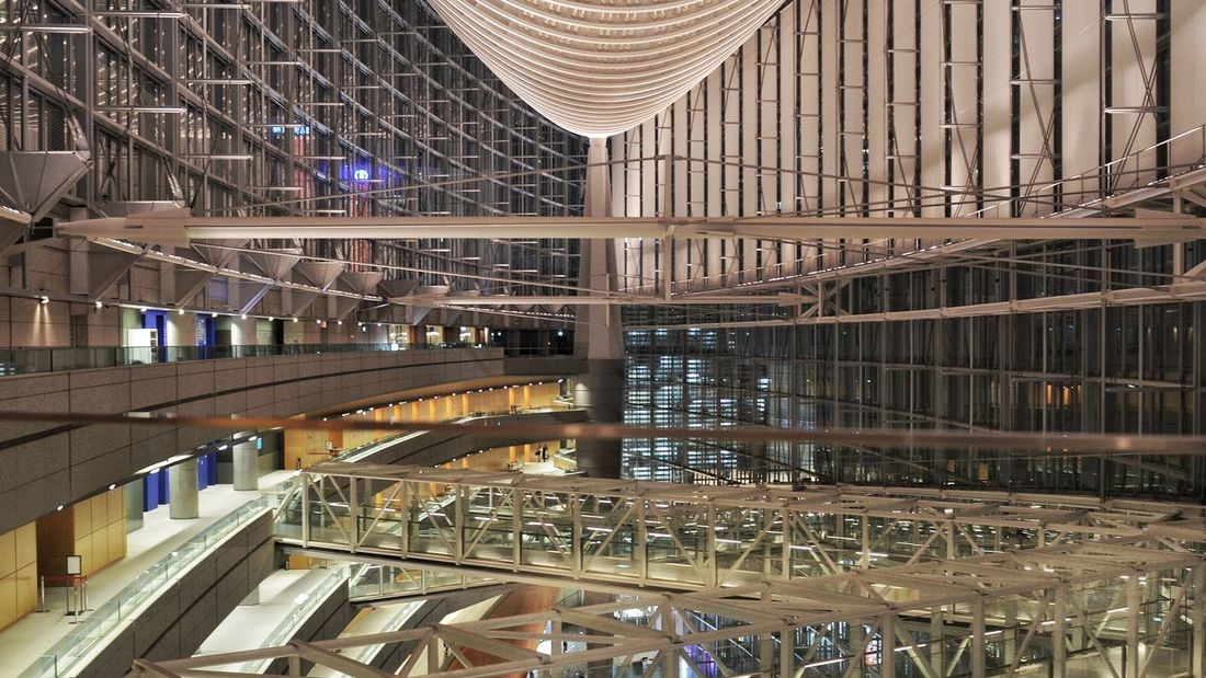 Illuminated Architecture Geometric Shapes Lines And Shapes Built Structure Lines Building Interior Lines, Shapes And Curves Night Lights Night City Tokyo Tokyo Night From My Point Of View 16:9 Crop 東京国際フォーラム(Tokyo International Forum)