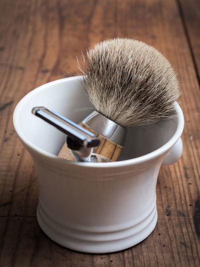 Barber Barbershop Beard Body Care Depilation Equipment Hygiene Indoors  Indoors  Man Men No People Razor Retro Retro Style Shave Shaver Shaving Shaving Brush Table Vintage Wood Wood - Material