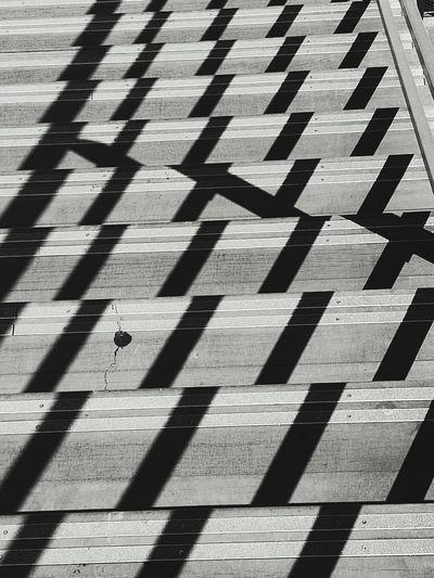 High Angle View Of Shadow On Steps