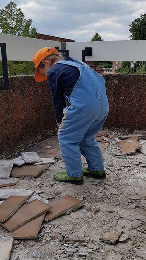 Arbeiter Abrissarbeiten Renovierung Fleissig Working Full Length Men Sky