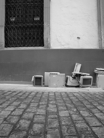 Abandoned Cobblestone Computers Obsolete Old-fashioned Sidewalk SPAIN Tiled Floor Trash Wall Wall - Building Feature