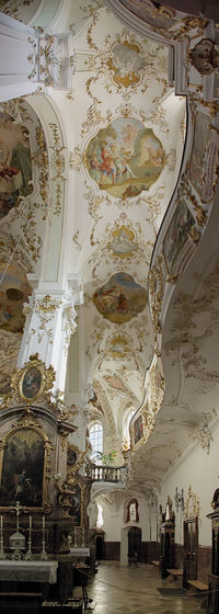 Interior of Rokkoko church Kloster Andechs (Bavaria/Germany) Ceiling Church Low Angle View Paintings Wall Benches Cloister Columns Indoors  Interior Design Late Baroque No People Rokkoko Tilt Panorama