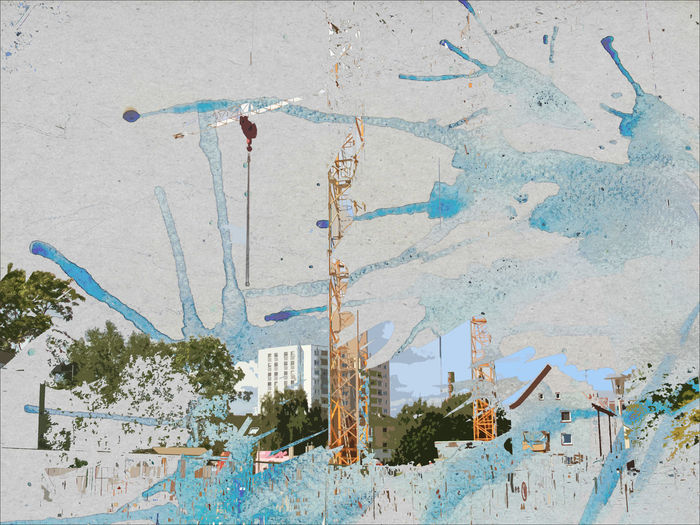 Aquarell Architecture Backgrounds Blue Building Exterior Built Structure City Life Close-up Collage Colorful Construction Site Crane Damaged Day Getting Creative Mixed Media Art No People Panorama Paper View Splash Urban Geometry Watercolor Urban Exploration Marija Behrendt Pimp My Kiel EyeEm Ready