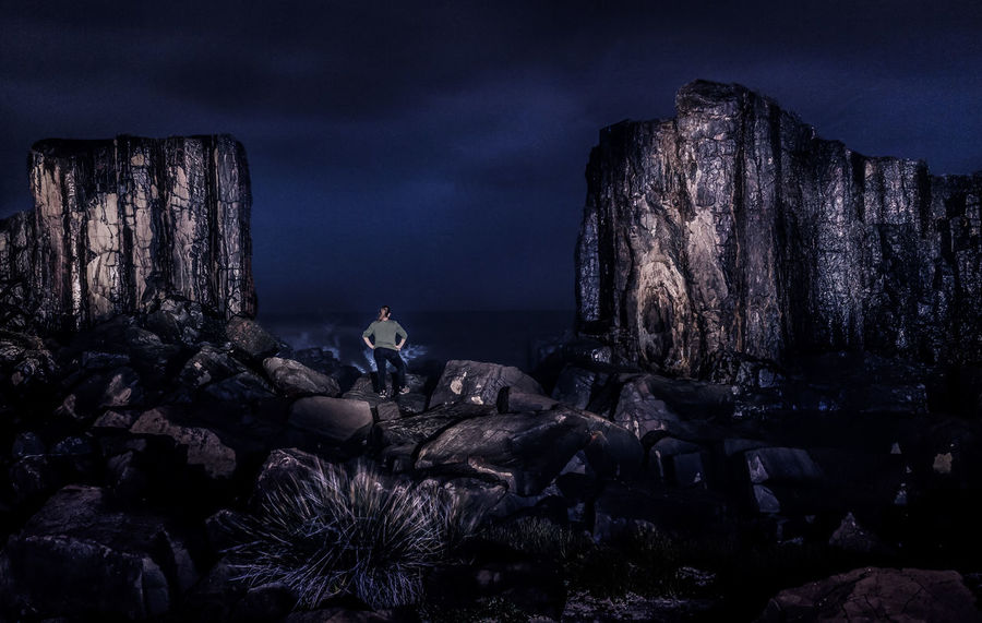 there's a super blood moon somewhere behind all that cloud! Geology Rocks Boulders Woman One Person One Woman Only Ocean Sea Rock Cliff Clouds Night Horizon Adventure Light Painting New South Wales  Travel South Coast New South Wales  Nightphotography Night Sky Waves Water Landscape Canyon One Woman Travel Destinations Blue Destination Mountain Shades Of Winter HUAWEI Photo Award: After Dark