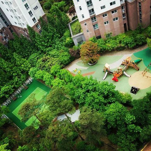 촉촉히 비가내리면 . 아파트단지내 초록이들이 빛이난다. 오늘따라 더 띳깔고운 나무들. 우산으로 사람들은 비를피하고 놀이터엔 뛰어노는 꼬꼬마들이 없다. 시끌시끌 소리도 없고, 큰 길가엔 빗속을 지나는 차소리만 들릴뿐. 쉬원하고 조쿠나