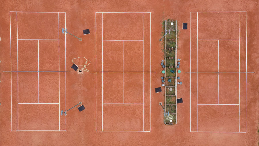 Aerial view of sports court