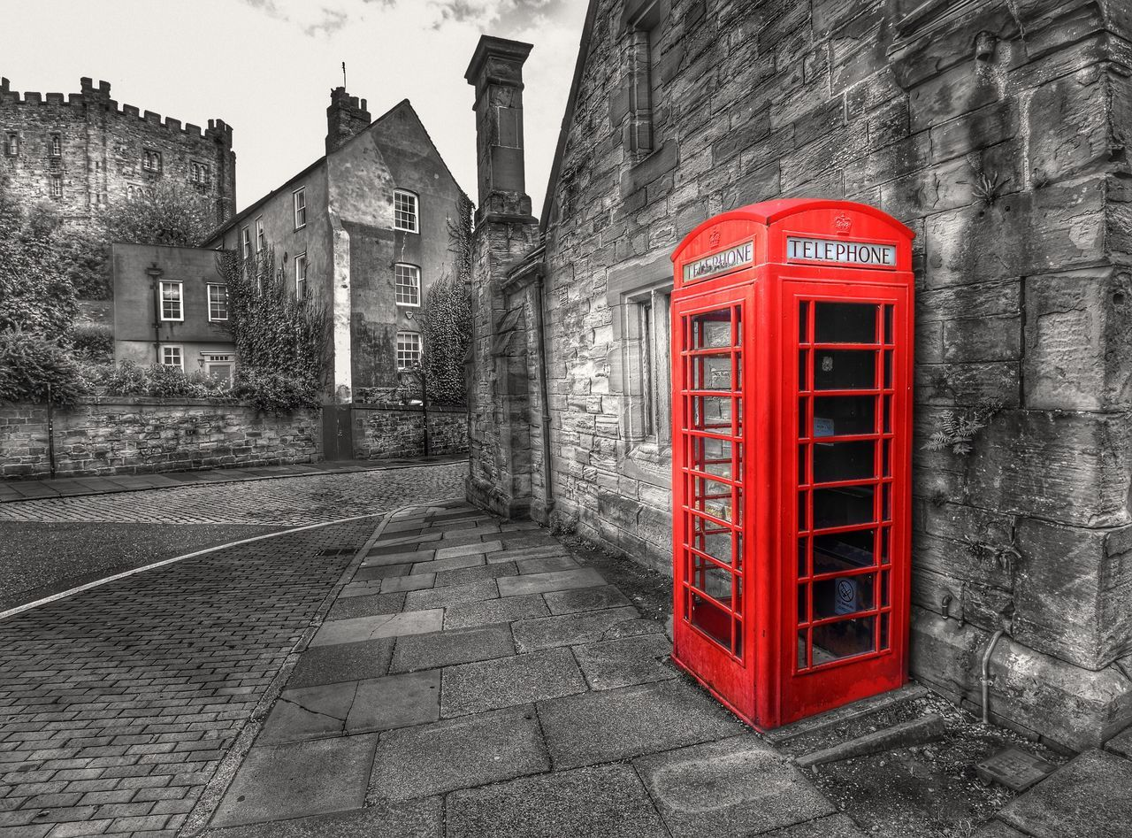 red, architecture, building exterior, built structure, communication, telephone booth, telephone, pay phone, no people, outdoors, street, day, city