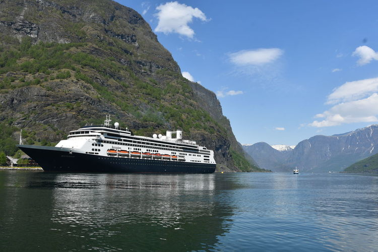 Fjordsofnorway MS Rotterdam Beauty In Nature Cloud - Sky Cruise Ship Day Flåm Mode Of Transportation Mountain Mountain Range Nature Nautical Vessel No People Non-urban Scene Outdoors Passenger Craft Scenics - Nature Sea Ship Sky Tranquil Scene Transportation Travel Water Waterfront
