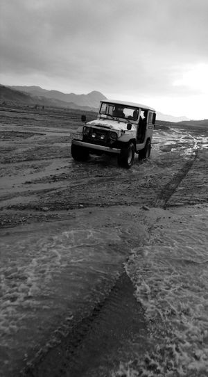 Mount Pinatubo Ash Fields Mud Rocky River 4x4 Jeep Transportation Vehicle Monochrome Black And White Photography The Great Outdoors - 2017 EyeEm Awards The Week On EyeEm Perspectives On Nature