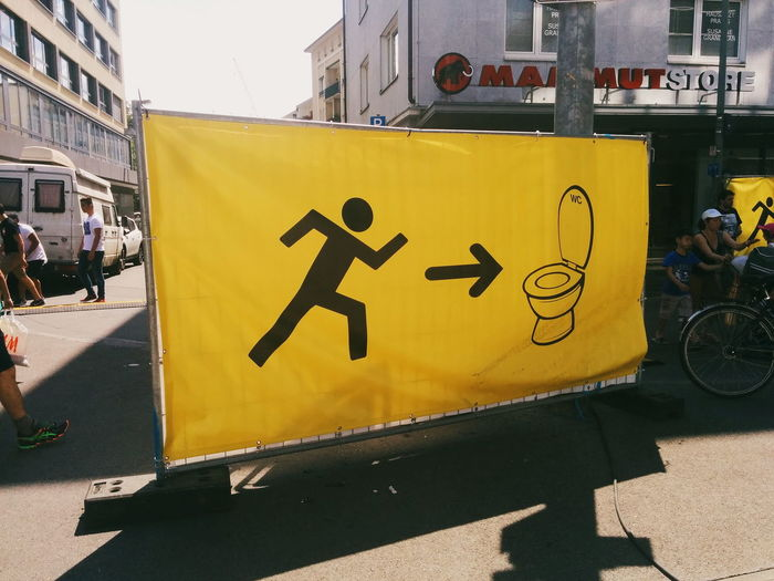Paint The Town Yellow Yellow Communication Day Outdoors Road Sign No People Architecture