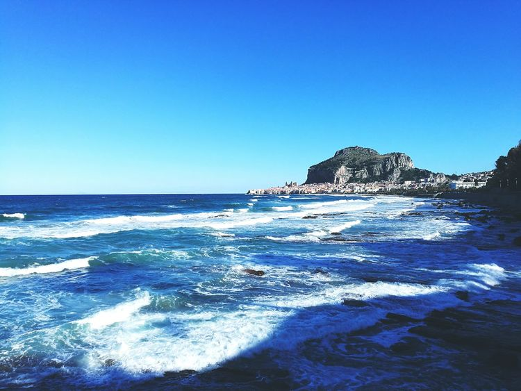 Sea Blue Beach Horizon Over Water Wave Rock - Object Sky Clear Sky Travel Destinations Tranquility Water Nature No People Day Huaweiphotography HuaweiP9 Cefalú, Sicilia, Mare, Paesaggio Outdoors City View  City Tirreno Tirrenic Sea