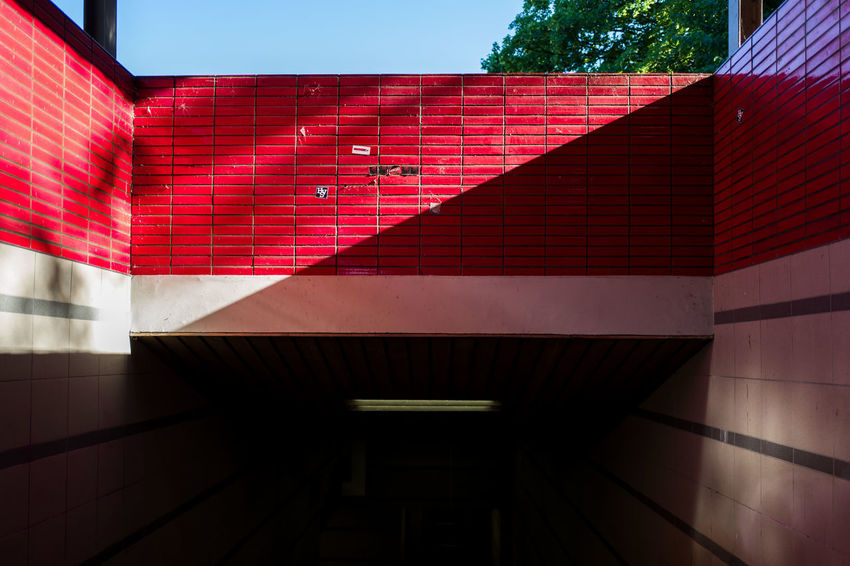 Hamburg Metro Architecture Building Building Exterior Built Structure City Day Glass - Material Low Angle View Modern Multi Colored Nature No People Outdoors Pattern Pink Color Red Shadow Sunlight Wall Wall - Building Feature