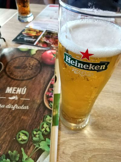 Beer Beer Time Relaxing Heineken Food And Drink Alcohol Refreshment Text Glass Drink Drinking Glass Table Food Close-up No People