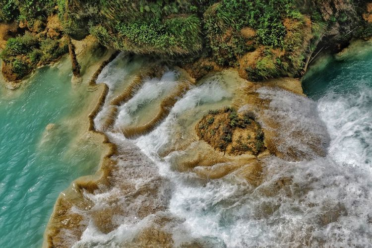 Agua Azúl Agua Aguazulchiapas Poza Semuc Champey Nature Water Sand Sea High Angle View