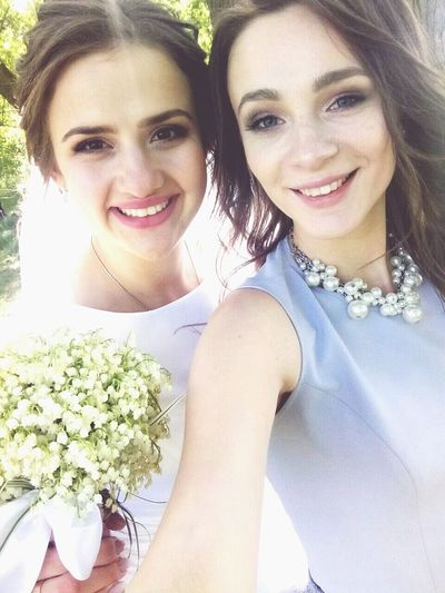 Friendship Young Women Flower Portrait Smiling Togetherness Happiness Looking At Camera Headshot Cheerful