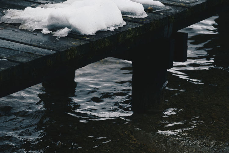 Lake Water Snow Winter Cold Temperature Frozen Nature No People Day River Wood - Material Ice Outdoors Built Structure Architecture Waterfront Connection Bridge Flowing Water Icicle Footbridge Footbridge Crossing Landing Stage Jetty Lake Lake View