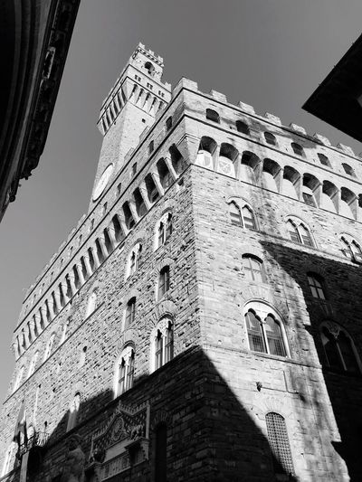 EyeEm Selects PalazzoVecchio Florence Italy Architecture Building Exterior Low Angle View Built Structure History Window Travel Destinations Outdoors No People Landmark Famous Place Sky Clear Sky Black And White Friday