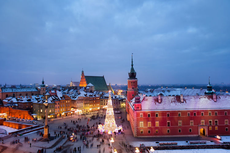 Old Town on winter night in city of Warsaw, Poland, Christmas time Castle Christmas City Cityscape Houses Old Town Poland Skyline Square Travel Warsaw Warszawa  Winter Aerial View Capital City City Lights Europe Famous Place Landmark Night Old City Travel Destinations Urban Urban Landscape Urban Skyline