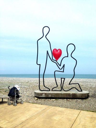 Sea Scenics Solitude Art Art Object Heart Couple Pram Horizon Over Water Tranquil Scene Day Love Story Batumi Embankment Seaside