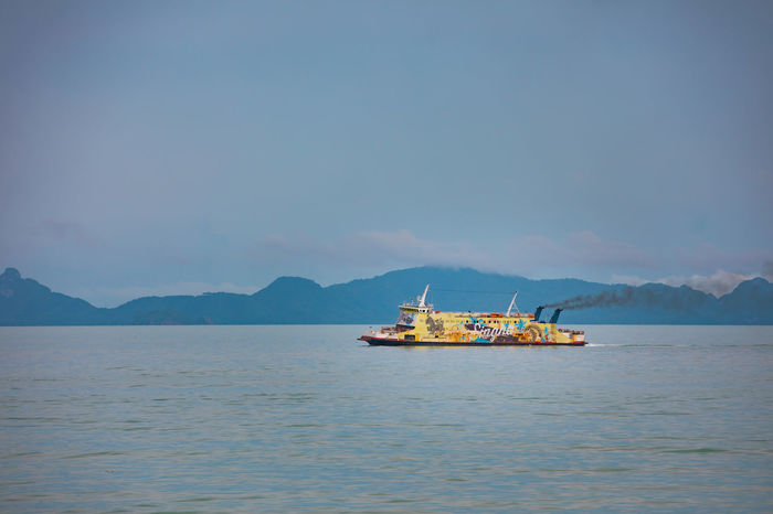 Ferry Transport Transportation Blue Ocean Sea Ship Transfer Vessels Yellow