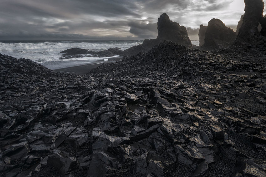 Landscape in Iceland Beauty In Nature Cloud Cloud - Sky Cloudy Coastline Day Horizon Over Water Idyllic Nature No People Non Urban Scene Non-urban Scene Outdoors Remote Rock Rock - Object Rock Formation Scenics Sea Shore Sky Tranquil Scene Tranquility Travel Destinations Water