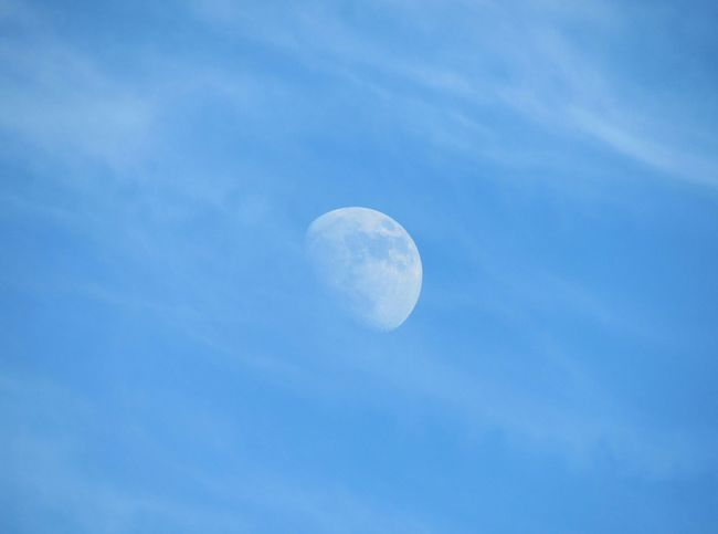 Daytime Moon Blue Sky Soft Clouds Beauty In Nature From A Distance Photography