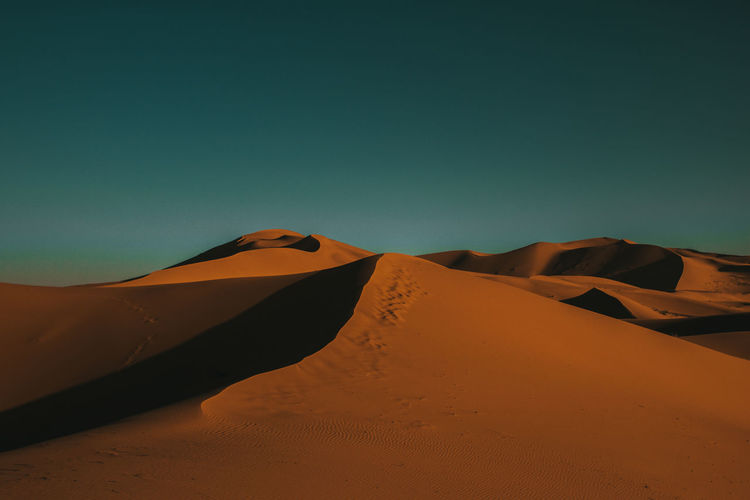 the beauty of Sahara Desert Sand Dune Sky Scenics - Nature Sand Arid Climate Climate Landscape Land Environment Clear Sky Tranquil Scene Tranquility Non-urban Scene Nature Beauty In Nature Remote No People Extreme Terrain Outdoors Atmospheric Sunset Sahara Dune My Best Photo