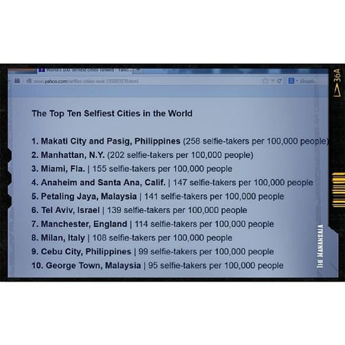"""I got reason to post my selfies. Makati City, Philippines is the """"Selfie Capital of the World"""" according to Time Magazine!!! Selfie Philippines Selfiecapital World itsmorefuninthePhilippines lol timemagazine"""