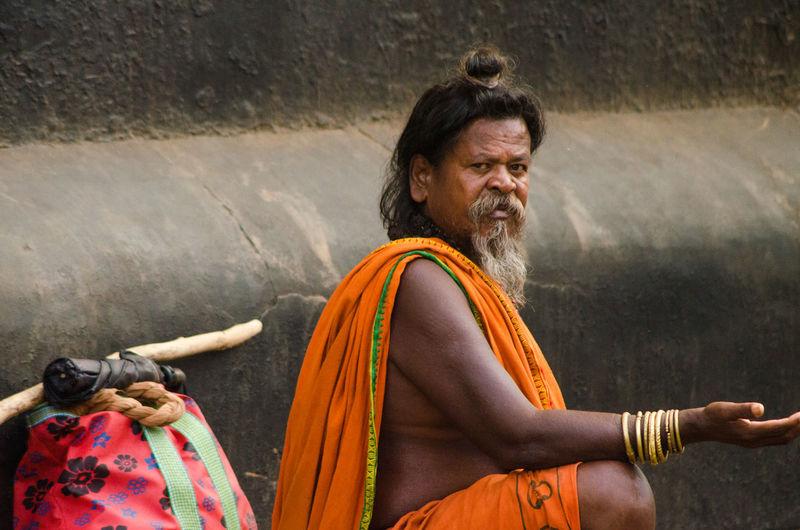 Side view portrait of sadhu