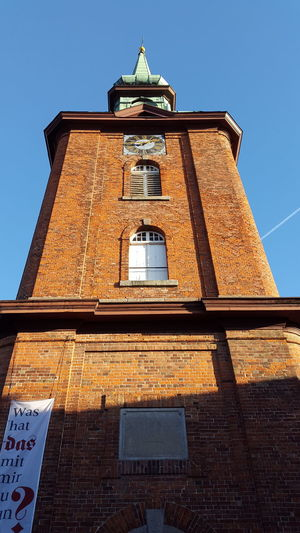 Low Angle View History Architecture Sky No People Gold Colored Building Exterior Built Structure Clock Day Outdoors Close-up Clock Tower Astronomy Outside Photography Kappeln Daylight Church Architecture Low Angle View