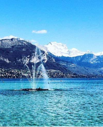 Annecy, France Annecy Lake France Hautesavoie Blue Lake Sun Snow Blue Water Clear Water
