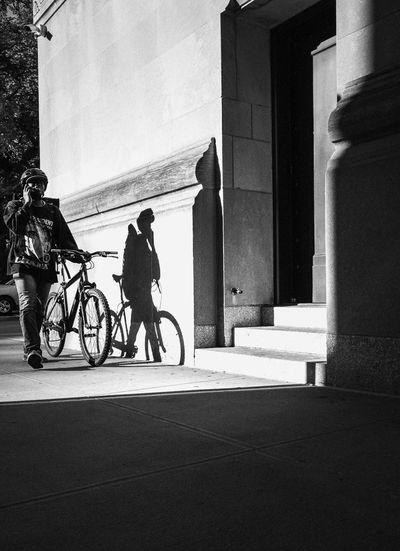 Black And White Friday Bicycle Built Structure Architecture Building Exterior Transportation Real People Land Vehicle Men Outdoors Day One Person City Sky People Shadow And Light Shadow Streetphotography Everybodystreet Nusevoice Ricohgr2 Bike Messenger