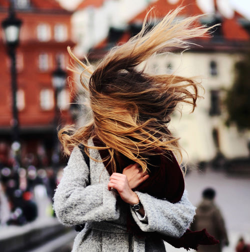 Autumn Hair Warsaw Adult Architecture Coat Day Long Hair Motion Movement Outdoors People Portrait Wind Women Young Adult Young Women Fresh On Market 2017