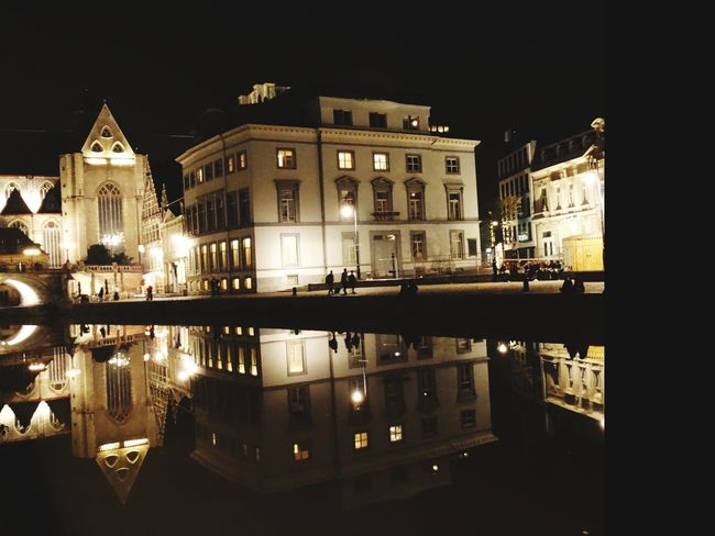 Night Reflection Illuminated Politics And Government Architecture Building Exterior Government Outdoors City No People Water Sky Cityscape City Ghent,Belgium Ghent Canal Vacations Water Reflections City Life Flamand Architecture Belgium Ghent Cityscape Travel Destinations Reflection