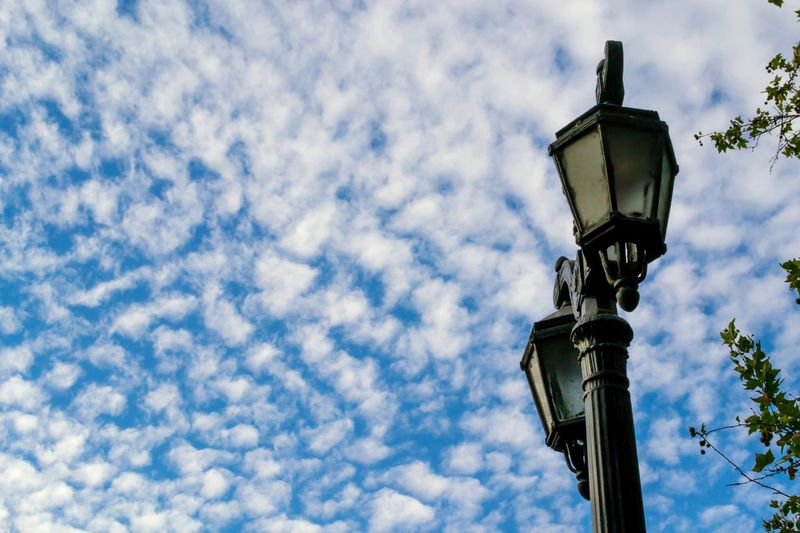 Adapted To The City Old-fashioned Sky Low Angle View Antique Cloud - Sky No People Outdoors Day Nature Architecture Street Lamp Lamps Cloudy Sky And Clouds City Contrast Mininalism Blue Sky Minimalistic Minimalist Photography